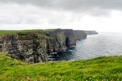 Ber?mda klippor f?r v?rld av Moher i st?ndsm?ssiga Clare, Irland royaltyfri fotografi