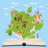 Ber?ttelsebok Bildande böcker för barn med berättelsesaga- och fantasitecken för fantasiläsningvektor stock illustrationer