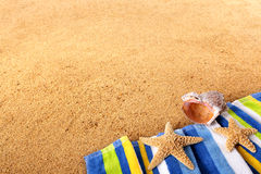 Beach background starfish copy space Stock Images