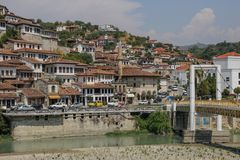Beautifully decorated ottoman houses of historical white city under fortress and everyday life of albanian UNESCO world heritage. BERAT, ALBANIA - AUGUST 29 royalty free stock images