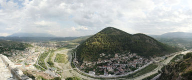 Berat, Albania panorama. A panorama of the Berat (Berati) city in Albania as seen from the Berat castle (the Unesco World Heritage Site of Historic Center of stock photography