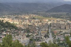 Berat, Albania panorama. A panorama of the Berat (Berati) city in Albania as seen from the Berat castle (the Unesco World Heritage Site of Historic Center of royalty free stock photography