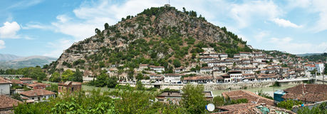 Berat - a city and a municipality located in south-central Albania, and the capital of the County of Berat Royalty Free Stock Photo