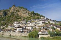 Berat oude stad in Albanië Stock Foto's