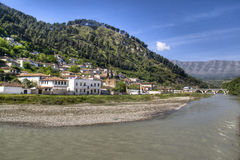 Berat by the river. View over the town of Berat with river, Albania Stock Photography