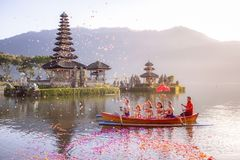 Beratan Lake in Bali Indonesia, Aug 16 2018 : Balinese villagers royalty free stock photo