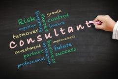 Beraterkonzeptideen und andere in Verbindung stehende Wörter Stockbild