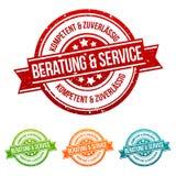 Beratungs-und Service - Kompetent-und zuverlässig - Siegel verschiedenen herein Farben stock abbildung