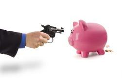 Berauben der Piggy Querneigung Lizenzfreie Stockfotografie