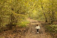 Berbeć dziewczyny odprowadzenie w drewnach w jesieni zdjęcia royalty free