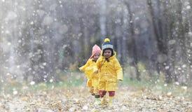 Berbecie na spacerze w jesień parku Pierwszy mróz i pierwszy Fotografia Stock