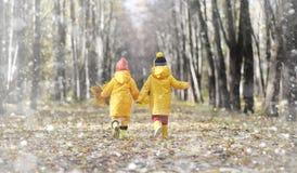 Berbecie na spacerze w jesień parku Pierwszy mróz i pierwszy Obraz Royalty Free