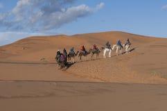 Berber caravan in the desert stock photos