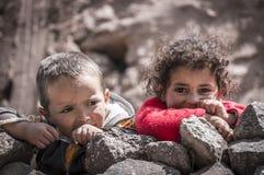 Berber Children. Berber kids in the village in High Atlas Mountains near Imlil, Morocco Royalty Free Stock Photos
