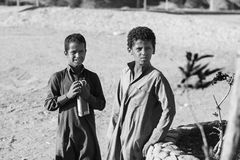 Berber children. Two berber boys, somewhere near Hurghada Royalty Free Stock Photos
