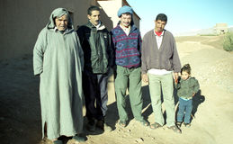 Berber family. This picture was taken in Djebel Sahro mountains where you can find rooms in small hotels during your trek in this area Royalty Free Stock Photography