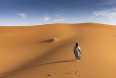 Berber man on the sand dunes royalty free stock images