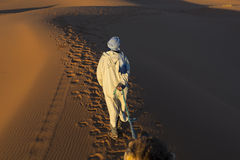 Berber man walking on desert Stock Photography