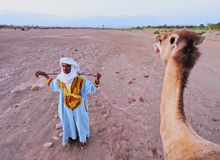 Berber Man on Zagora Desert in Morocco Royalty Free Stock Image