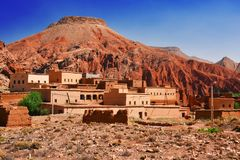 Berber rural architecture of Atlas Mountains region in Morocco.  royalty free stock image