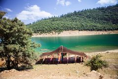 Berber tent by the lake, near Aguelmame, Morocco Stock Image