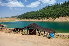 Berber tent by the lake, near Aguelmame, Morocco Stock Photography