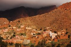 Berber village under cloud Royalty Free Stock Photography