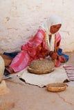 Berber Woman Grinding Corn, Matmata, Tunisia Royalty Free Stock Image