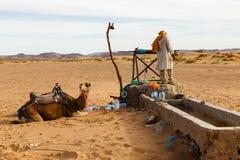 Berber y camello cerca del bien, Marruecos Imagen de archivo libre de regalías