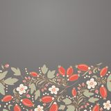 Berberitzenbeergrenze, von Hand gezeichnetes Beerenmuster Stockfotografie