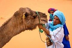 Berbers som försöker att binda upp en kamel i Sahara arkivfoto