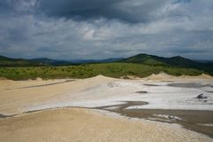 Berca Mud Volcano from drone aerial Romania Europ royalty free stock images