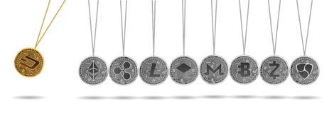 Berceau de Newton d'or et de cryptos devises argentées Images stock