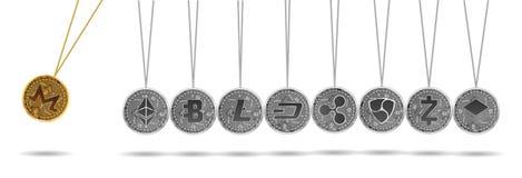 Berceau de Newton d'or et de cryptos devises argentées Photographie stock