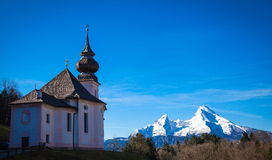 Berchtesgaden in Bavaria. Sanctuary of Maria Gern before watzmann group Royalty Free Stock Image