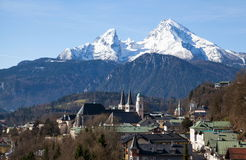 Berchtesgaden in Bavaria. View over Berchtesgaden with the Watzmann Group in background Royalty Free Stock Images