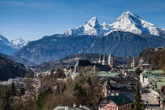 Berchtesgaden in Bavaria. View over Berchtesgaden with the Watzmann Group in background Stock Photography