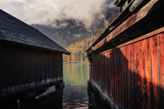 Berchtesgaden, Germany. Boathouses At The Koenigssee Royalty Free Stock Photography