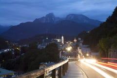 Berchtesgaden på natten Royaltyfri Foto