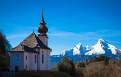 Berchtesgaden. Sanctuary of Maria Gern before watzmann group Royalty Free Stock Image