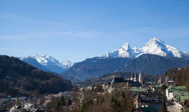 Berchtesgaden. View over Berchtesgaden with the Watzmann Group in background Stock Photography
