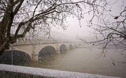 Bercy bridge under snow in paris stock image