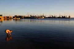 BERDYANSK - DE OEKRAÏNE, 01 SEPTEMBER, 2016: Vissersboot in de oude haven van stad Berdyansk Het overzees van Azov ukraine Stock Foto