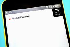 Berdyansk, Ucrania - 14 de mayo de 2019: El homepage de la página web oficial para Mitsubishi Corporation, el comercio más grande foto de archivo libre de regalías