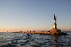 BERDYANSK - UKRAINA: WRZESIEŃ 02, 2016: Bakan blisko przesyła w Azov morzu Fotografia Stock
