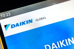 Berdyansk, Ukraine - April 1, 2019: Daikin Industries website homepage. Daikin Industries logo visible on the phone. Screen, Illustrative Editorial stock photography