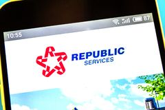 Berdyansk, Ukraine - April 21, 2019: Illustrative Editorial, Republic Services website homepage. Republic Services logo visible on. The phone screen royalty free stock image