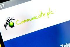 Berdyansk, Ukraine - 6 avril 2019 : Éditorial illustratif de page d'accueil de site Web de PLC Communicate Communiquez le logo d images libres de droits