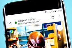 Berdyansk, Ukraine - 4 June 2019: Biogen website homepage. Biogen logo visible on the phone screen, Illustrative Editorial.  stock photo