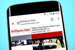 Berdyansk, Ukraine - 1 June 2019: Brilliance China Automotive Holdings website homepage. Brilliance China Automotive. Holdings logo visible on the phone screen royalty free stock photo